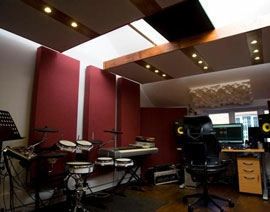 Fully custom treated pro studio control room. Acoustic treatment products by Blue Frog Audio